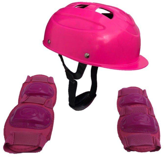Kit Segurança Proteção Infantil Para Skate Patins Patinete - CP02 ROSA - FULLFILMENT VENDAS