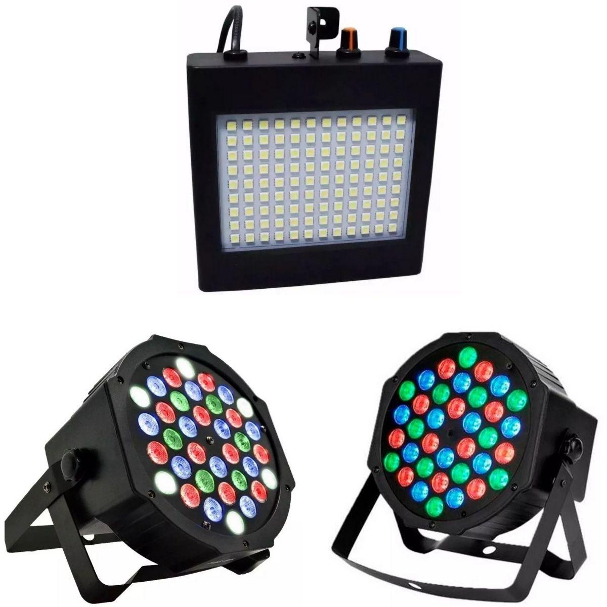 Kit Strobo 108 Leds RGB 25W Rítmico Bivolt Automático + 2 Canhão de Luz Led Par 64 RGB 36 Leds DMX Digital Strobo