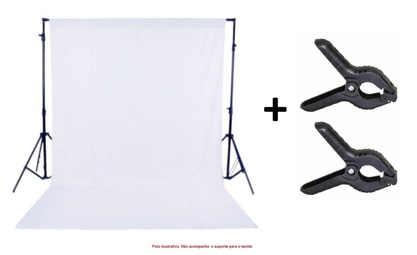 Kit Tecido Chroma Key Branco 3x5m + Grampo Prendedor - TECIDO+YA401