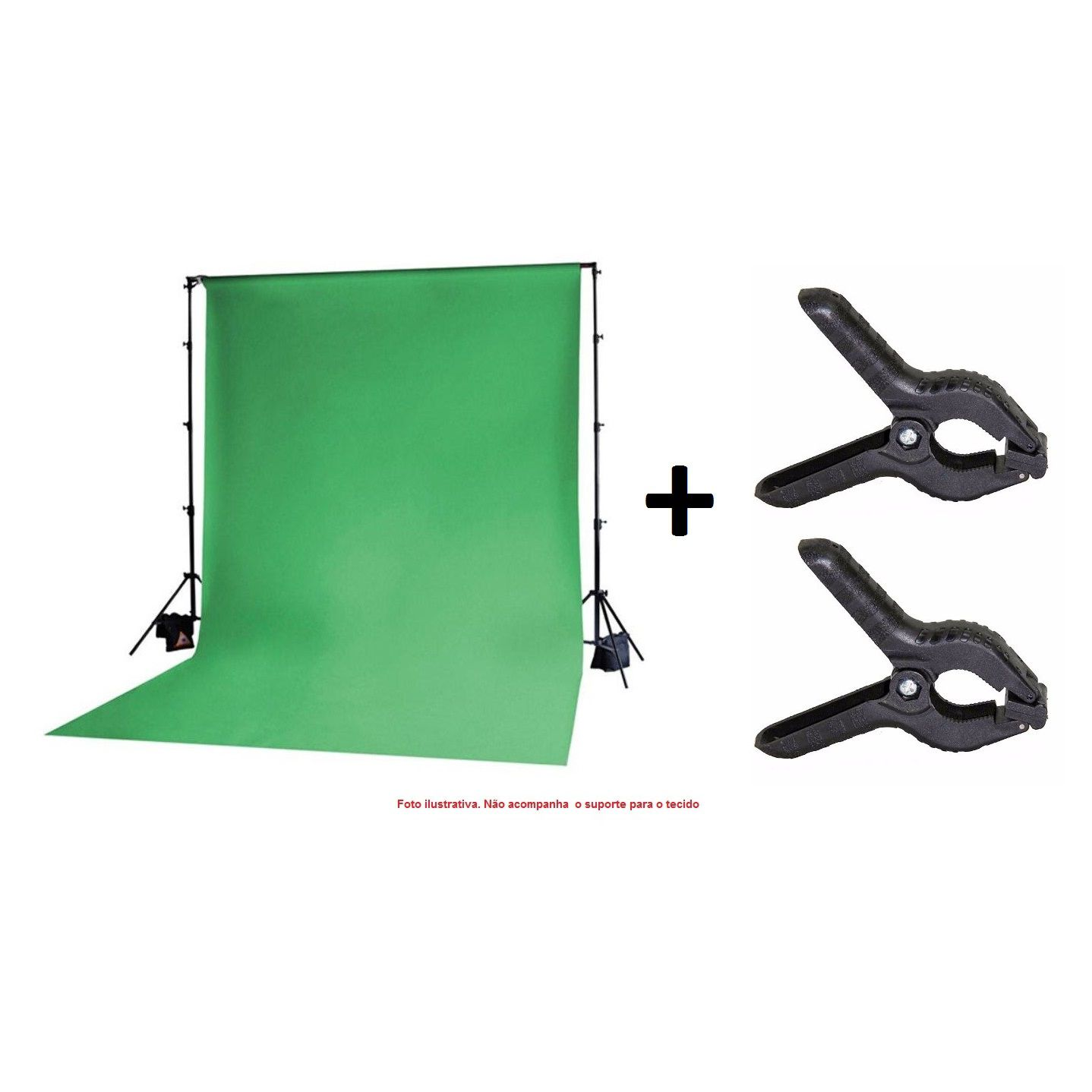 Kit Tecido Chroma Key Verde 3x5m + Grampo Prendedor - TECIDO+YA401