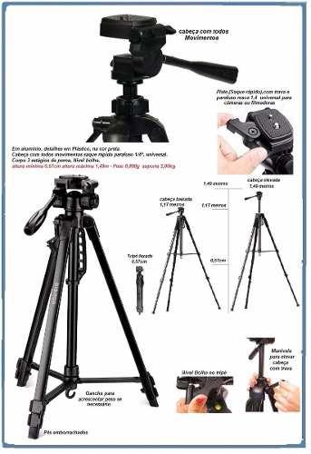 Kit Tripé Para Câmera Fotográfica de 1,80 Metros e Suporte Celular - TR672A + Suporte