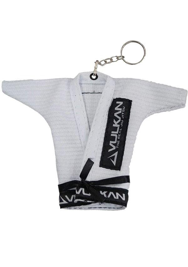 Chaveiro Kimono Jiu Jitsu Branco Vulkan + Adesivo Vulkan