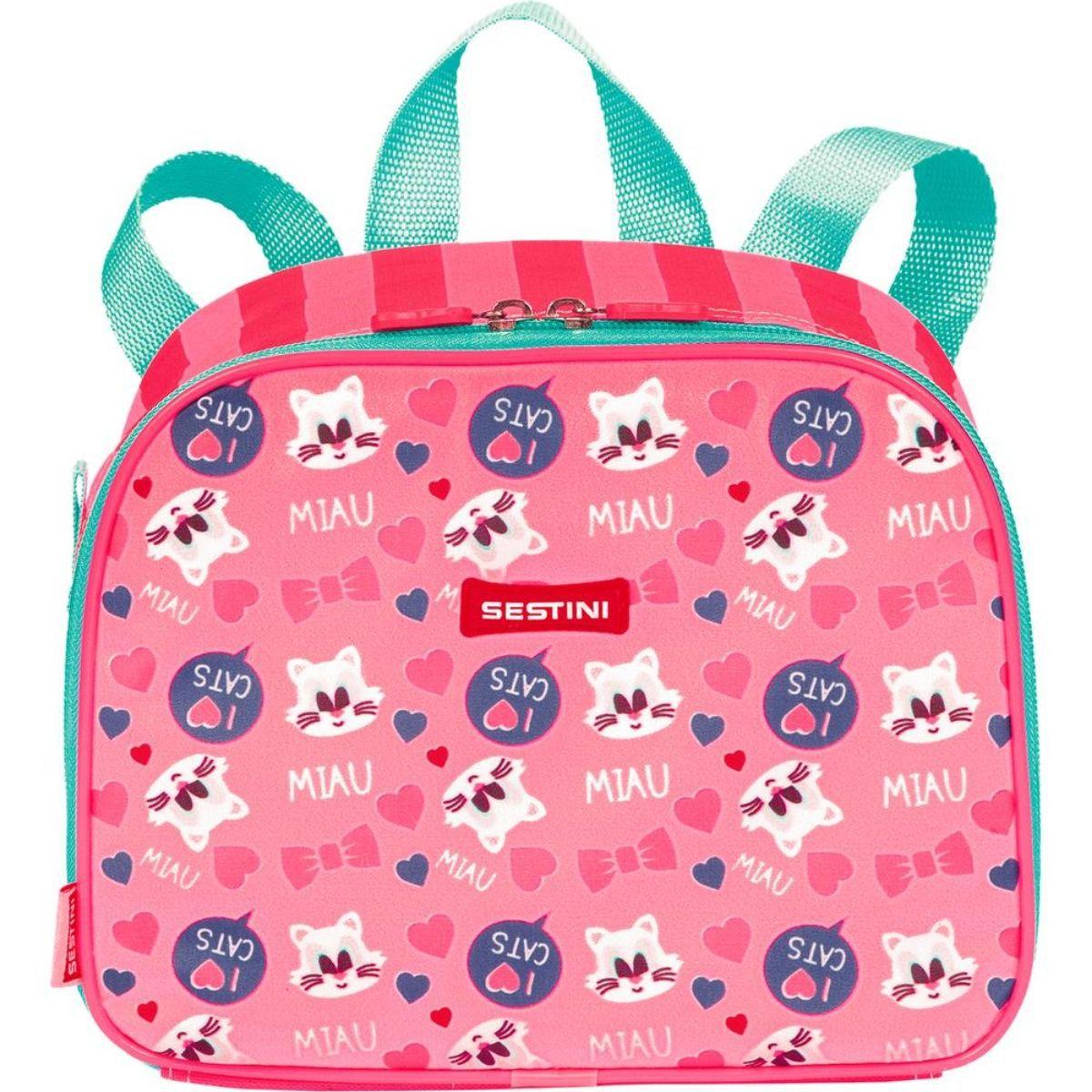 Lancheira Infantil Feminina Escolar Kids Cat 2 em 1 Sestini - 065147-00