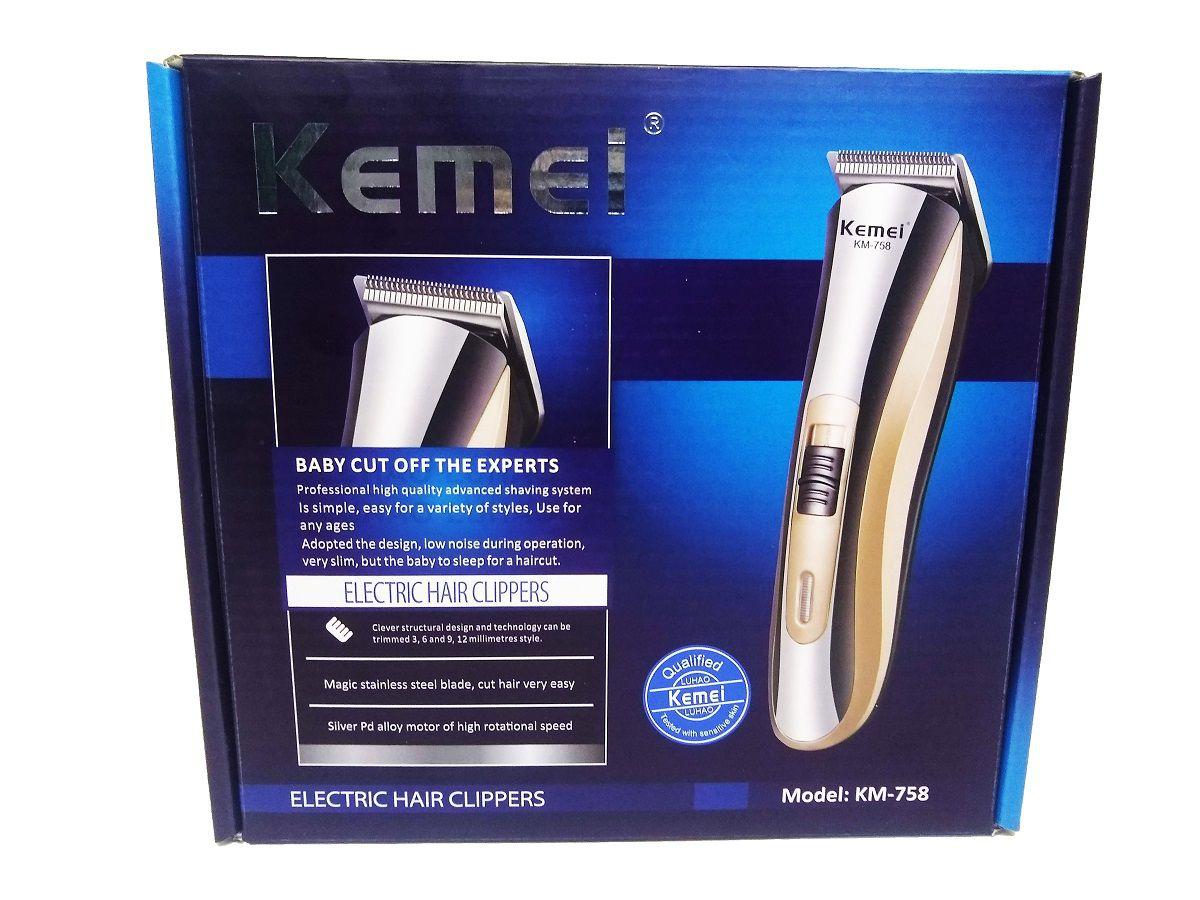 Máquina de Cortar Cabelo Kemei Sem Fio Bivolt - KM-758