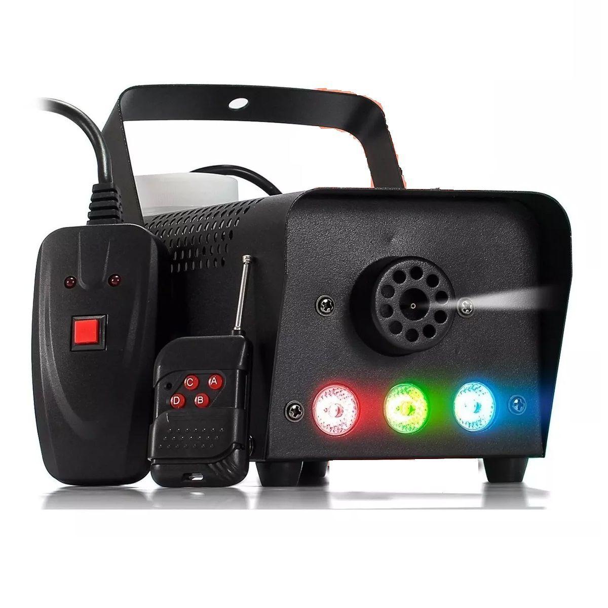 Máquina de Fumaça 600w 3 Leds 1 Watt RGB Controle Sem Fio - XH-600W