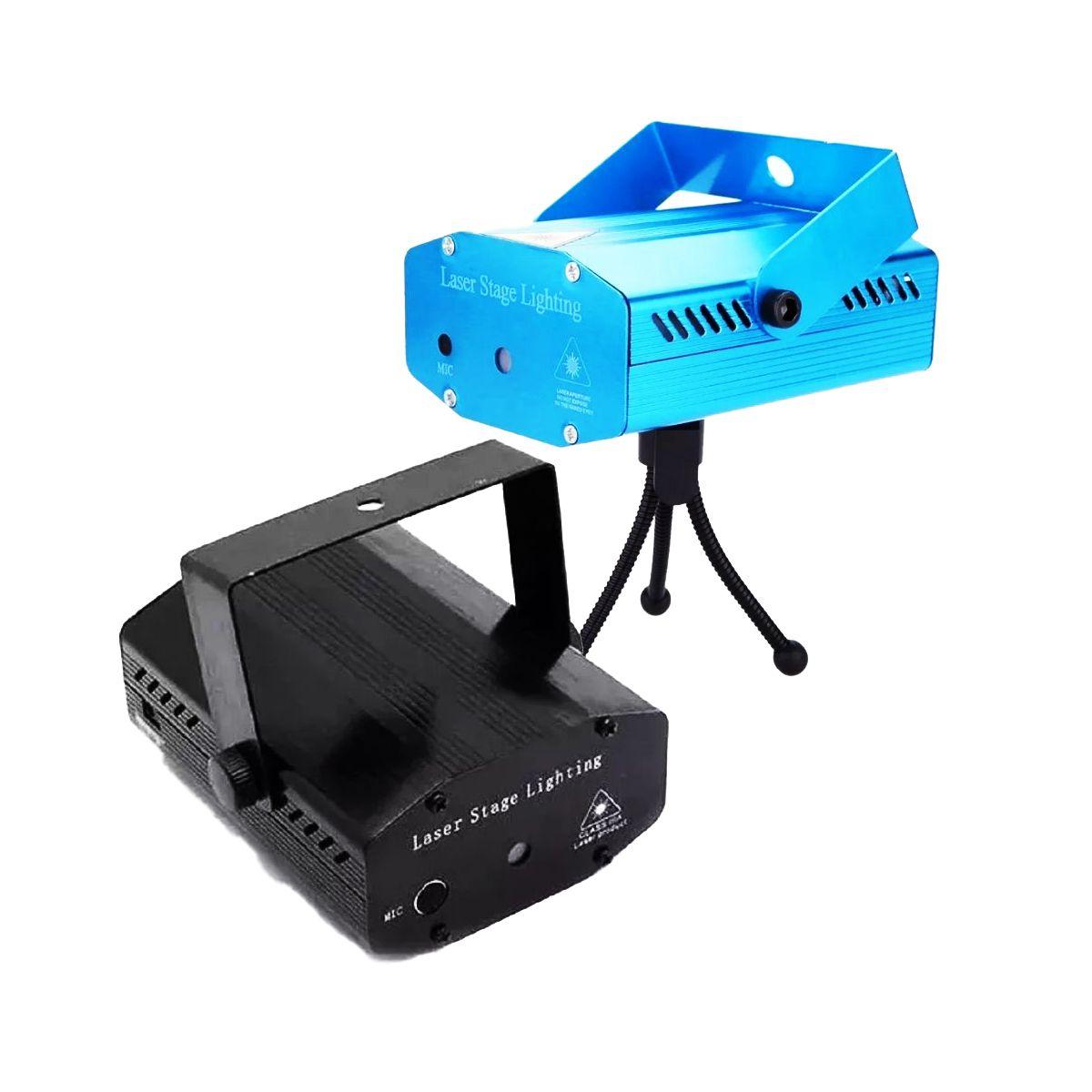 Mini Laser Projetor Holográfico Stage Lighting Azul E Preto - SD-09 E SD-08