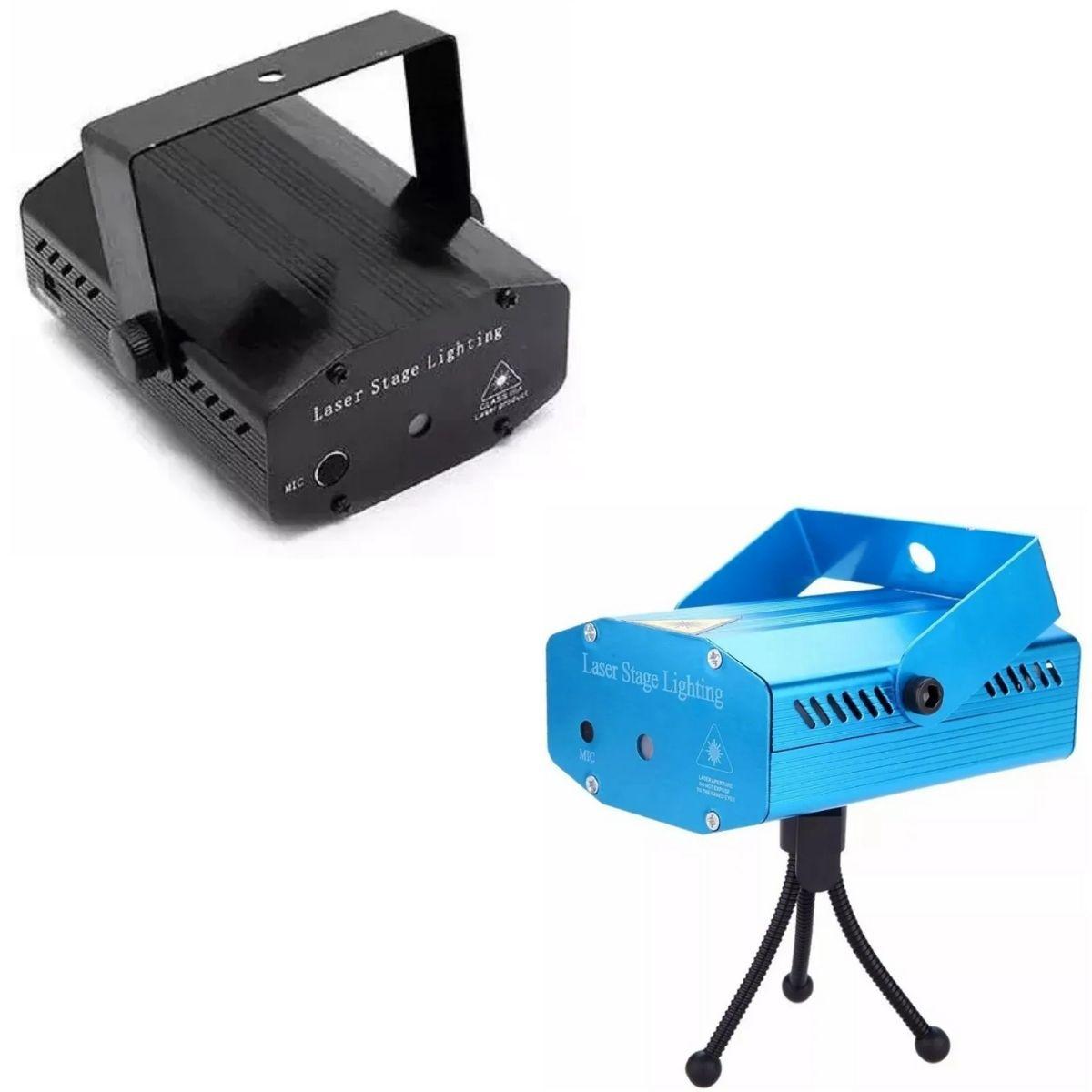 Mini Laser Projetor Holográfico Stage Lighting Preto E Azul - SD-126