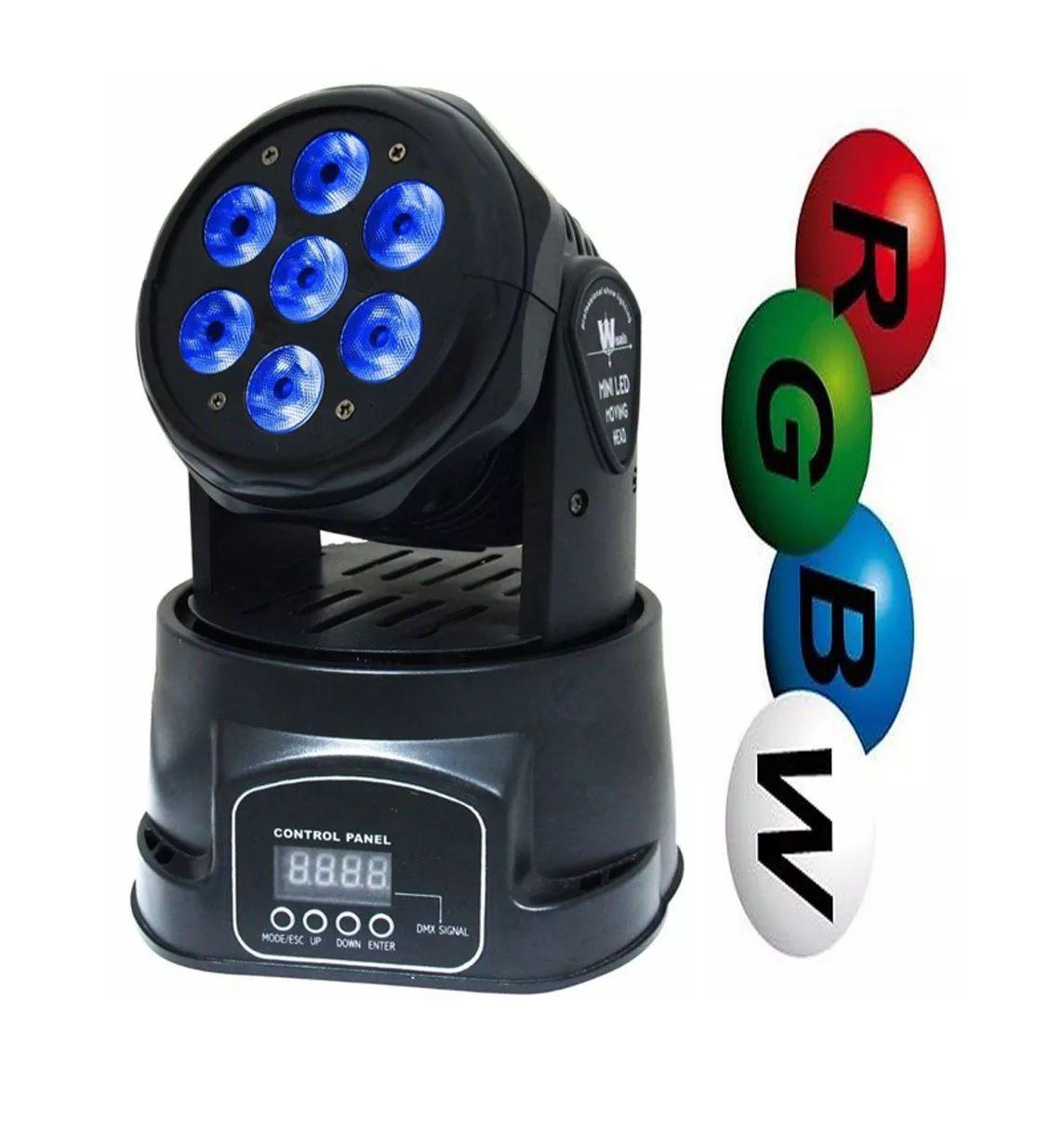 Mini Moving 7 Leds Iluminação Rgbw DMX Painel Digital Strobo - HL-6818-7