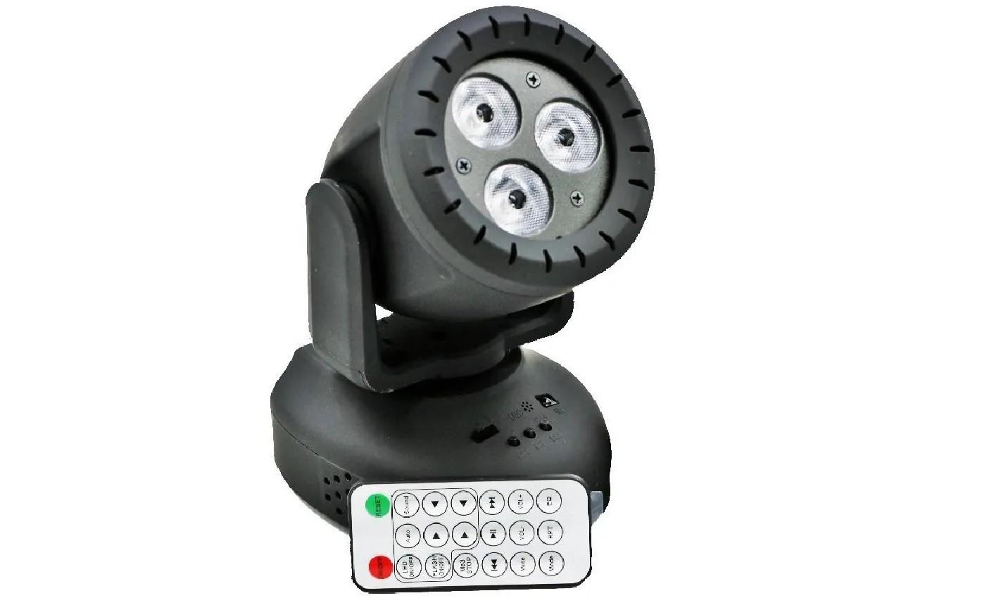 Mini Moving Head 3 Leds RGBW Com Controle - HL-081