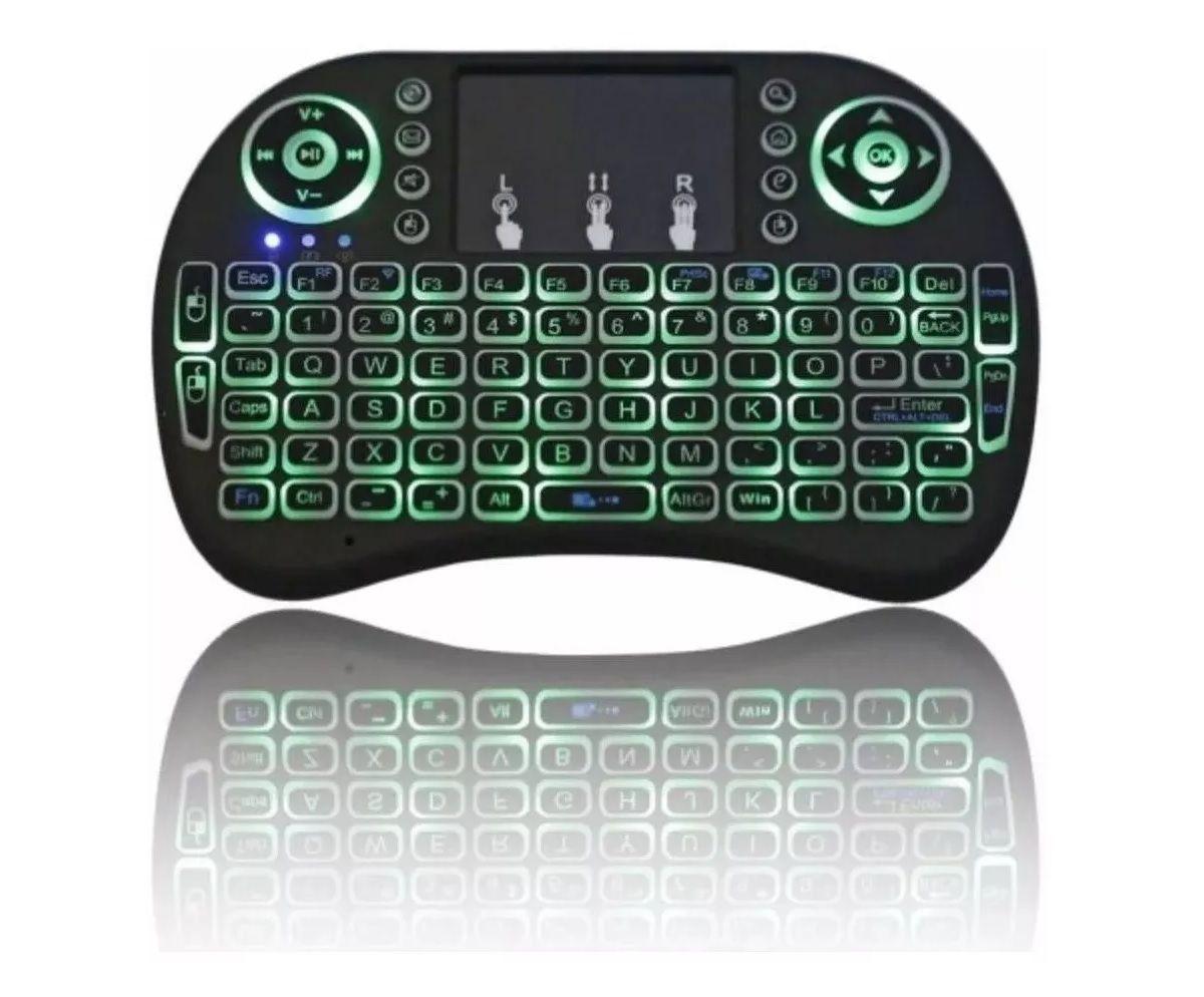 Mini Teclado Controlador Sem Fio Para Smart TV Mouse Touch - FI0030-BG