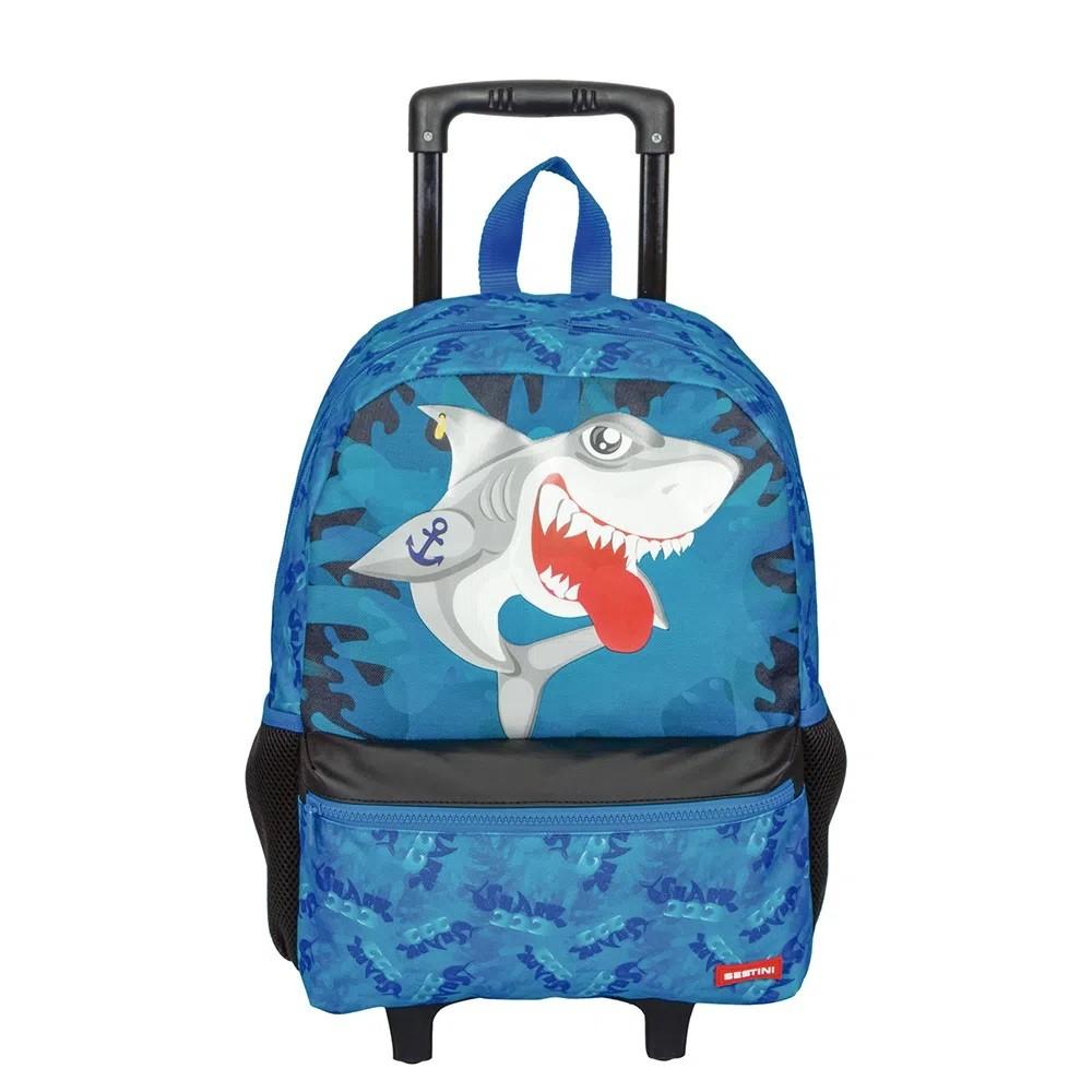 Mochila Escolar Grande Sestini 21M Plus Tubarão Com Rodinha -  065840-00