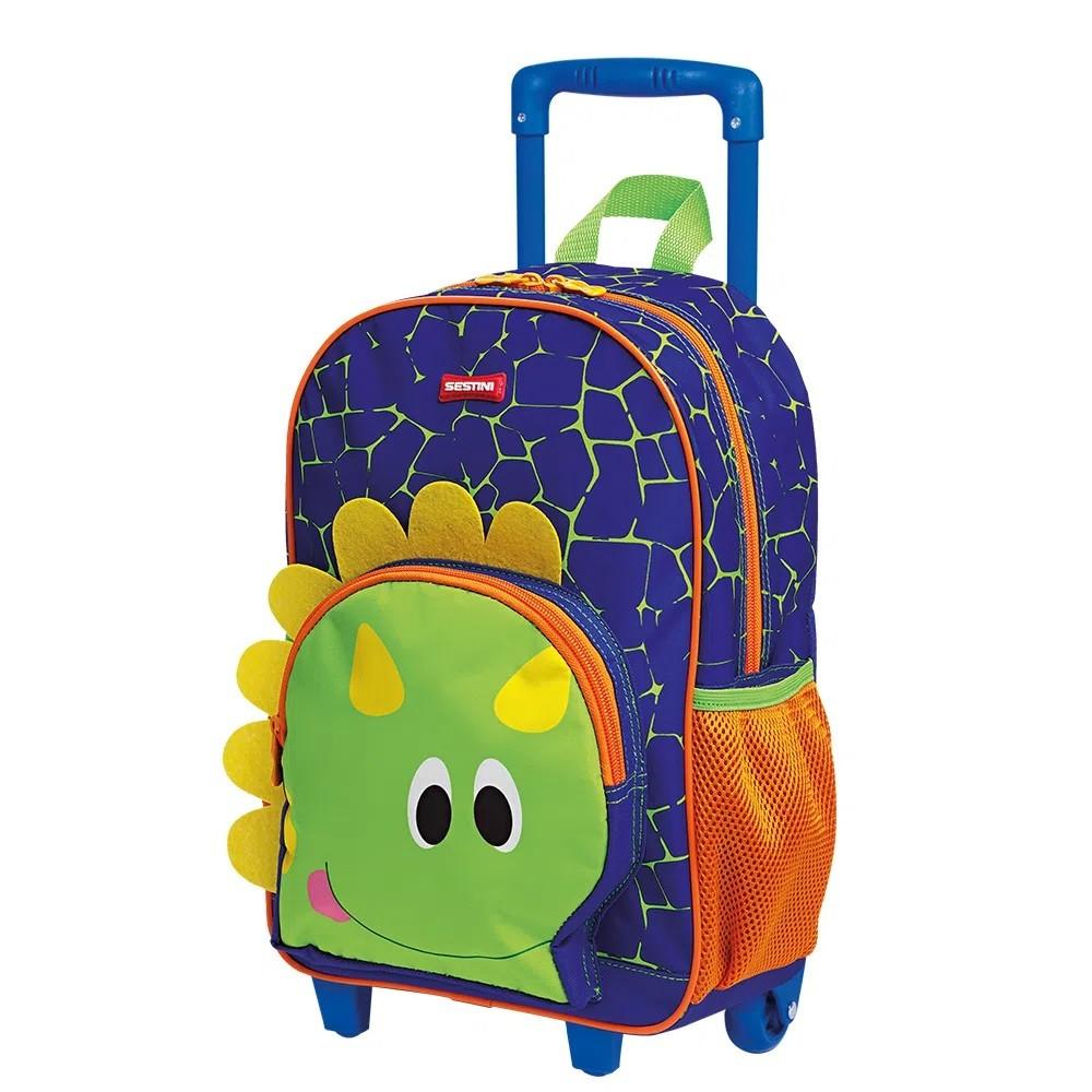 Mochila Escolar M Sestini Kids Dino 2 Colorido Com Rodinhas - 065906-00