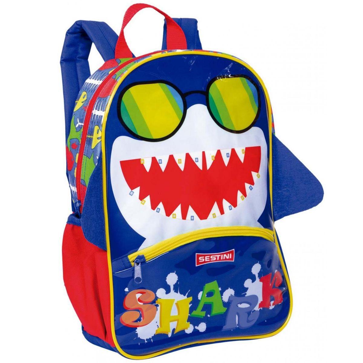 Mochila Média Basic Tubarão Infantil Escolar Sestini - 065607-00