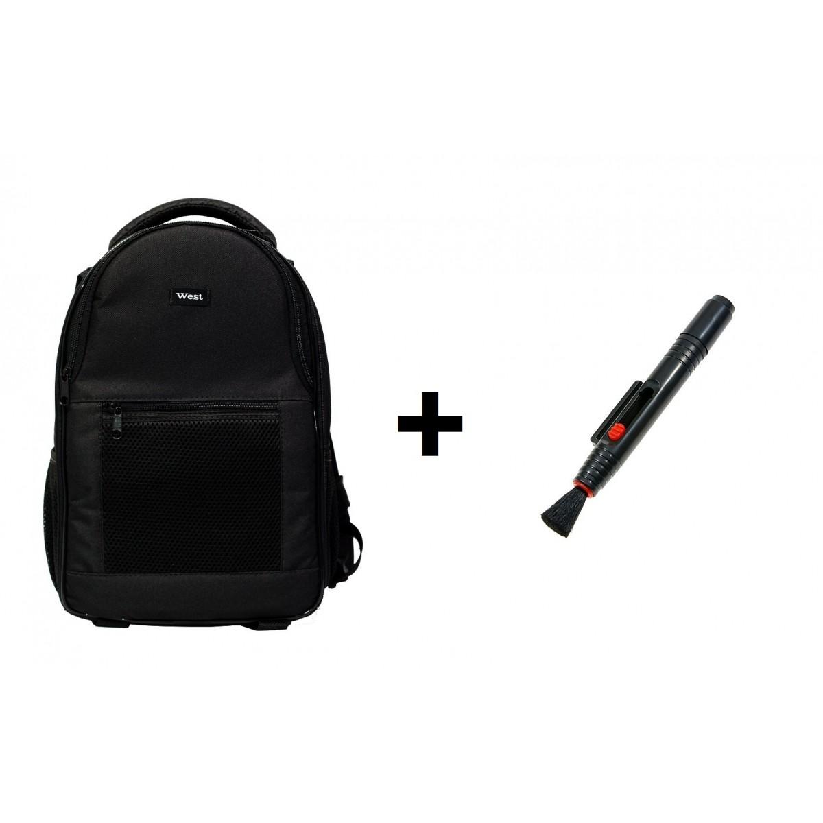 Kit Mochila Para Câmera Fotográfica Jamily E Acessórios + Caneta De Limpeza Lenspen Para Limpeza