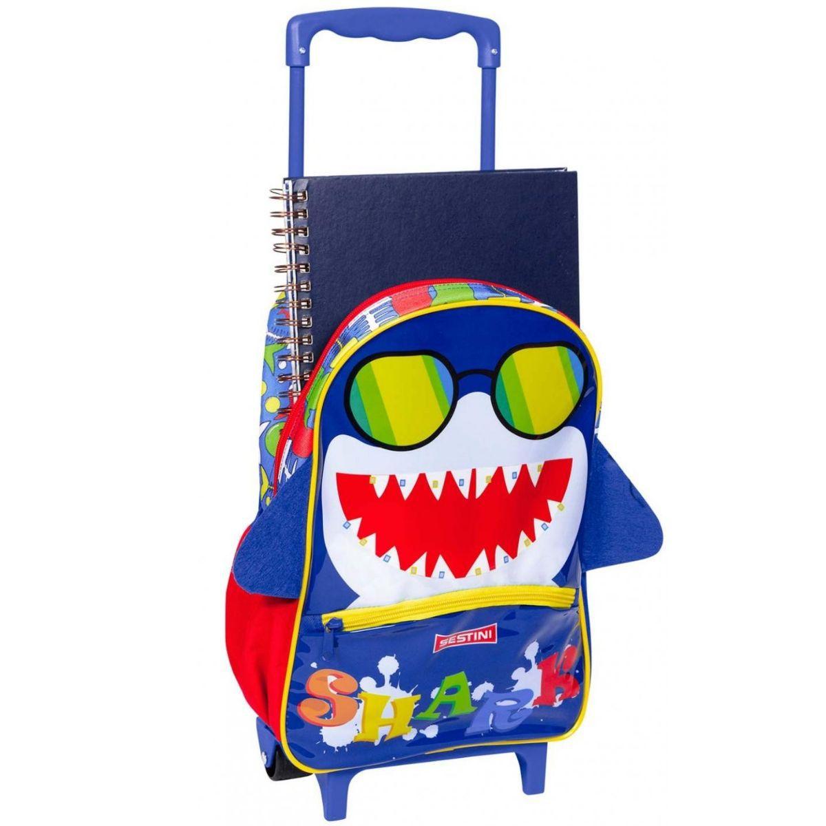 Mochila Mochilete Infantil Escolar De Rodinhas Tubarão Sestini - 065606-00