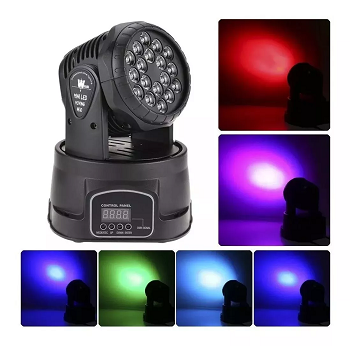 Moving Head 18 Leds Rgb 3W Strobo Dmx - HL-6818-18