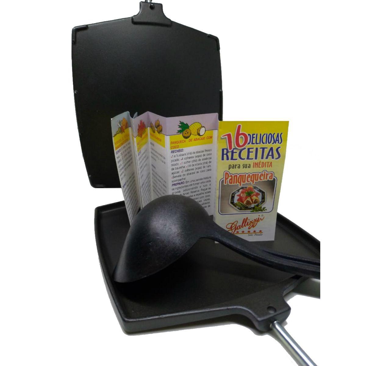 Panquequeira Quadrada Antiaderente Preta Com Concha e Livro de Receitas - PQ40