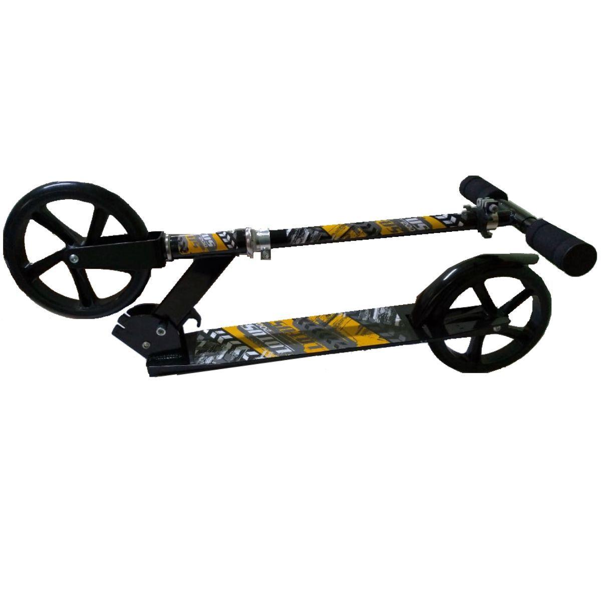 Patinete Roda 20cm Preto Com 2 Rodas Adulto E Infantil - YTA-663PR-LX