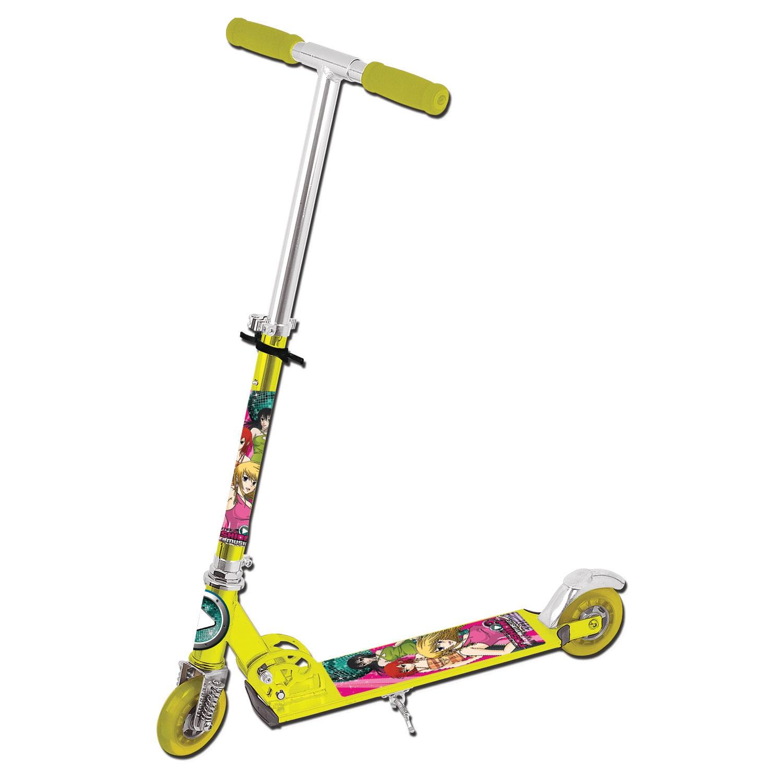 Patinete Em Aluminio Lotus Amarelo e Rosa Com Amortecedor e Freio Estampa Fashion Music - TR-1016RO