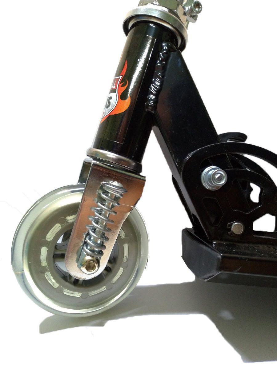 Patinete Em Aluminio Lotus Preto Com Amortecedor e Freio - TR-1015