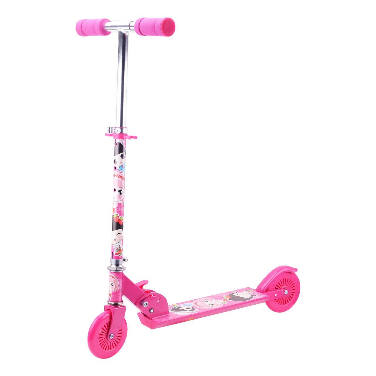 Patinete Infantil Para Meninas Rosa Com LED 2 Rodas - YTA-13RO-LX