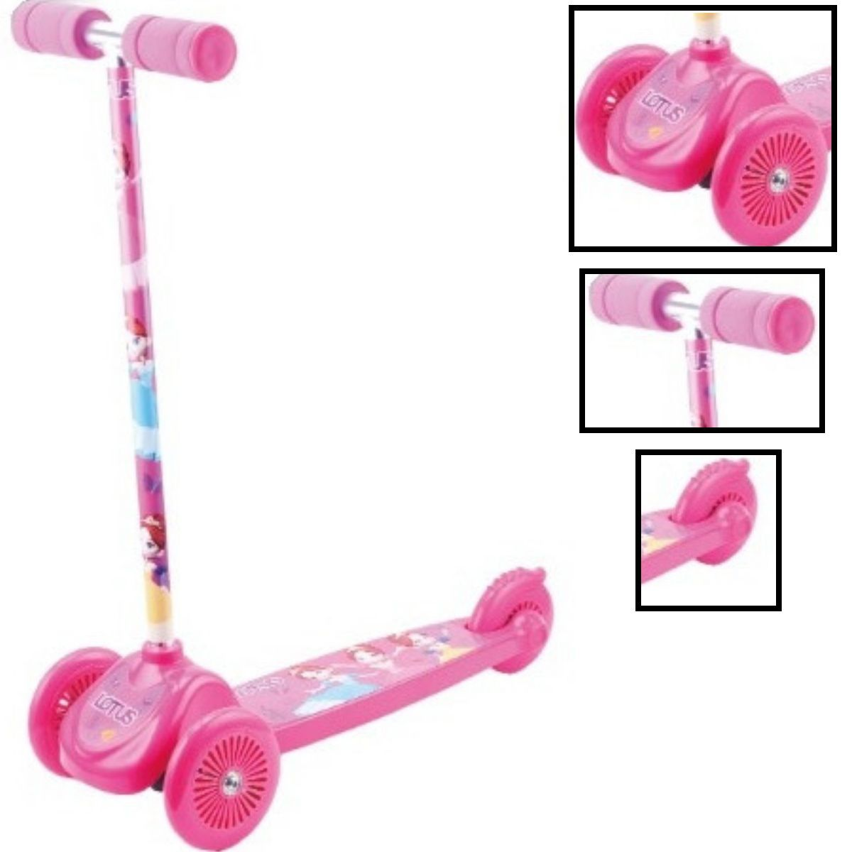 Patinete Infantil Para Meninas Rosa Personalizado Com 3 Rodas E Freio  - YT3-05RO-LX