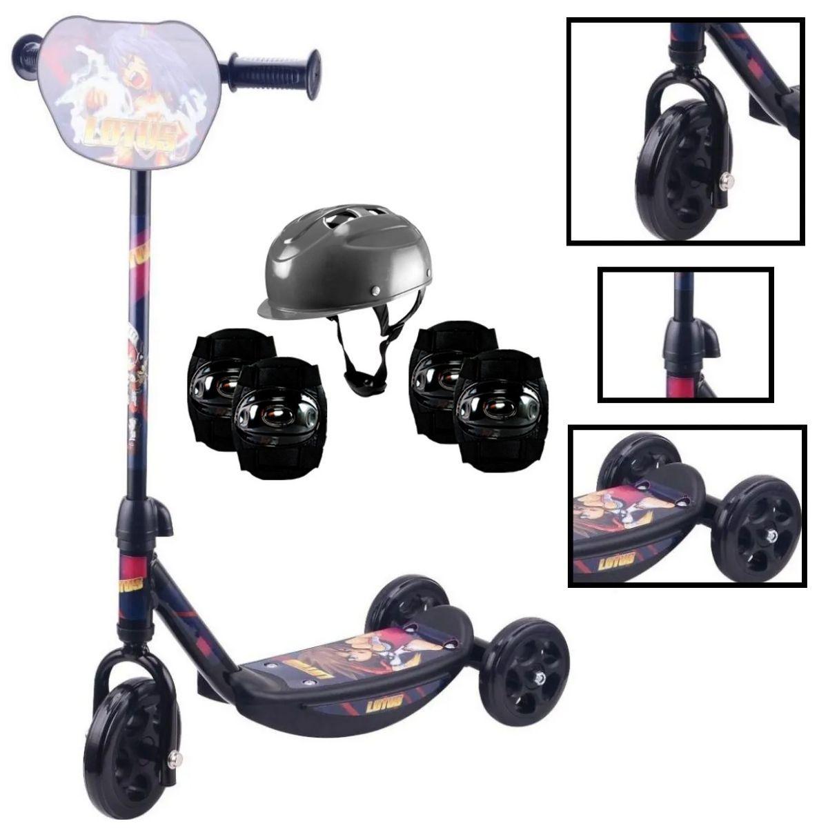 Patinete Infantil Para Meninos Preto 3 Rodas Com Kit Proteção Preto - YTT-07PR-LX