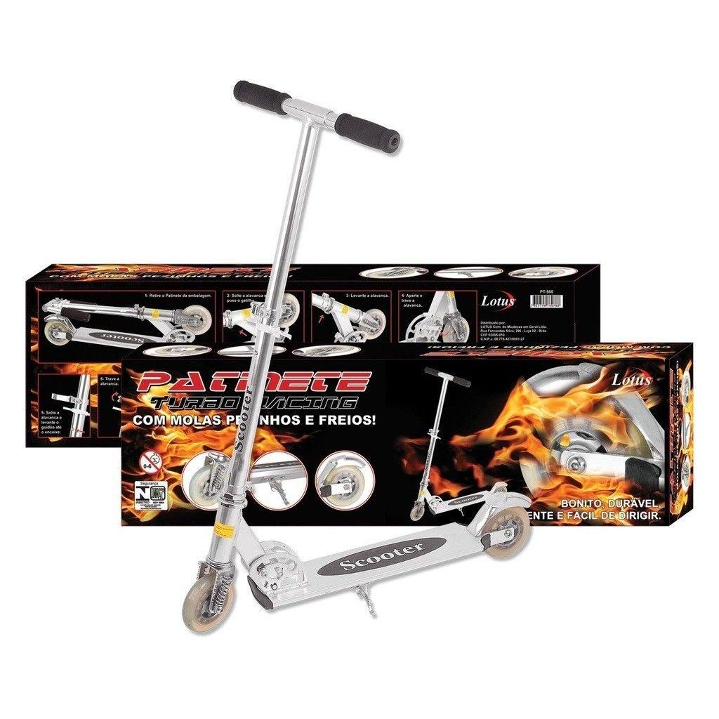 Kit Patinete Infantil Turbo Racing + Kit Segurança Infantil Preto Para Patinete E Skate