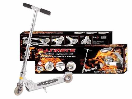 Kit Patinete Turbo Racing Infantil + Kit Segurança Para Patinete E Skate Preto