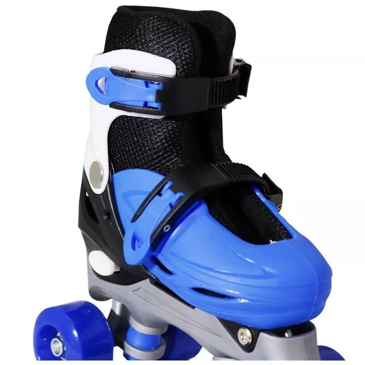 Patins Infantil Masculino Azul 4 Rodas Roller - BW-016-AZ