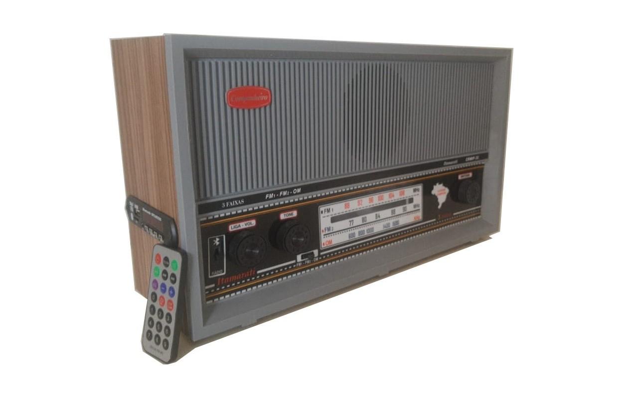 Rádio Companheiro Itamarati 3 Faixas Entrada Auxiliar USB e Bluetooth - CRMIF-32USB CINZA