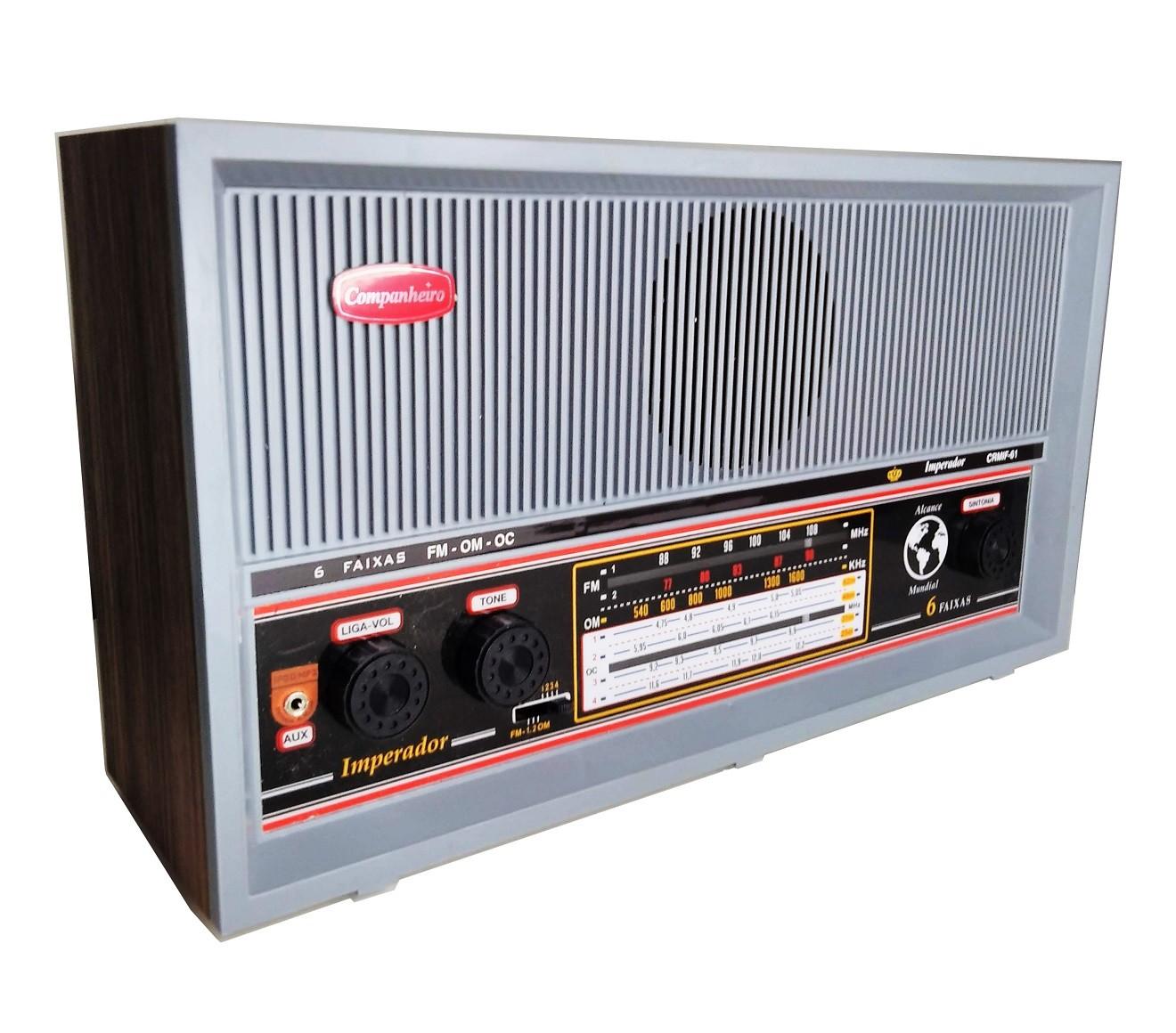 Radio Companheiro Madeira Vintage Retrô Itamarati 3 Faixas AM FM e FMW - CRMIF-31 CINZA