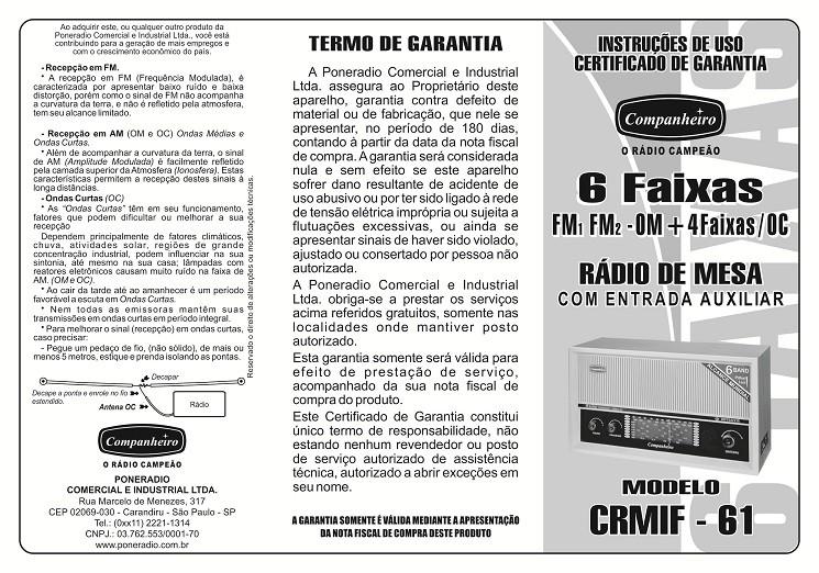 Rádio de Mesa 6 Faixas Imperador Marrom - CRMIF61M