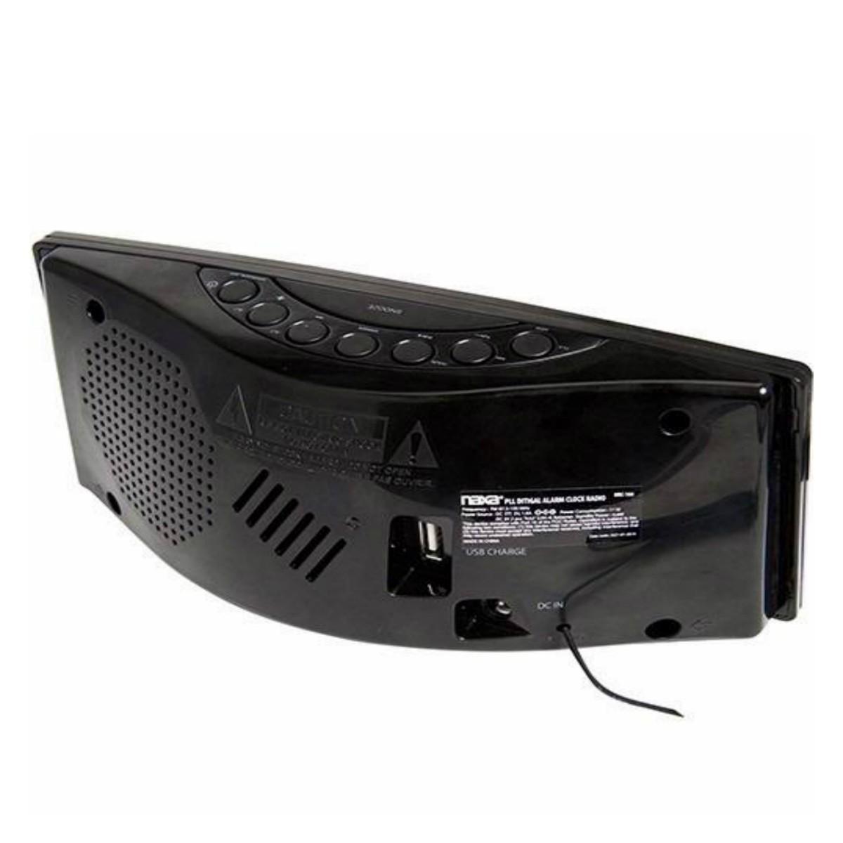 Rádio-Relógio Digital Naxa Am E Fm Com Alarme E Saída USB Para Carga - NRC-166