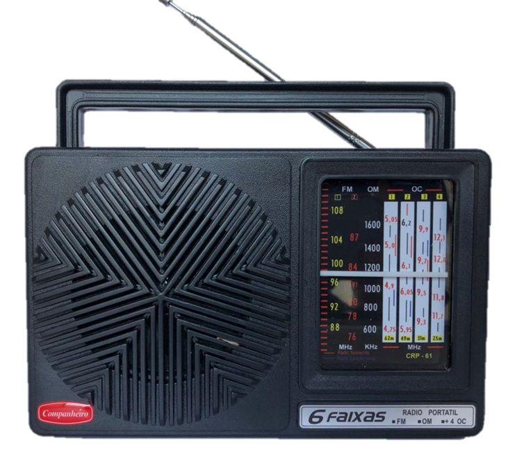 Rádio Vintage Retrô Portátil Companheiro 6 Faixas PRETO COMPANHEIRO- CRP-61