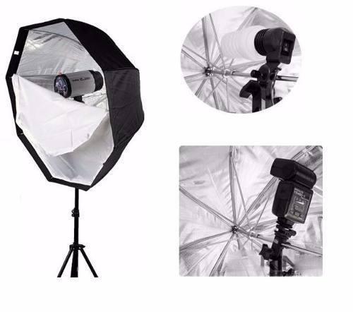 Kit Fotográfico Softbox Octabox Profissional Para Estúdio 80cm + Tripé 2M St-803