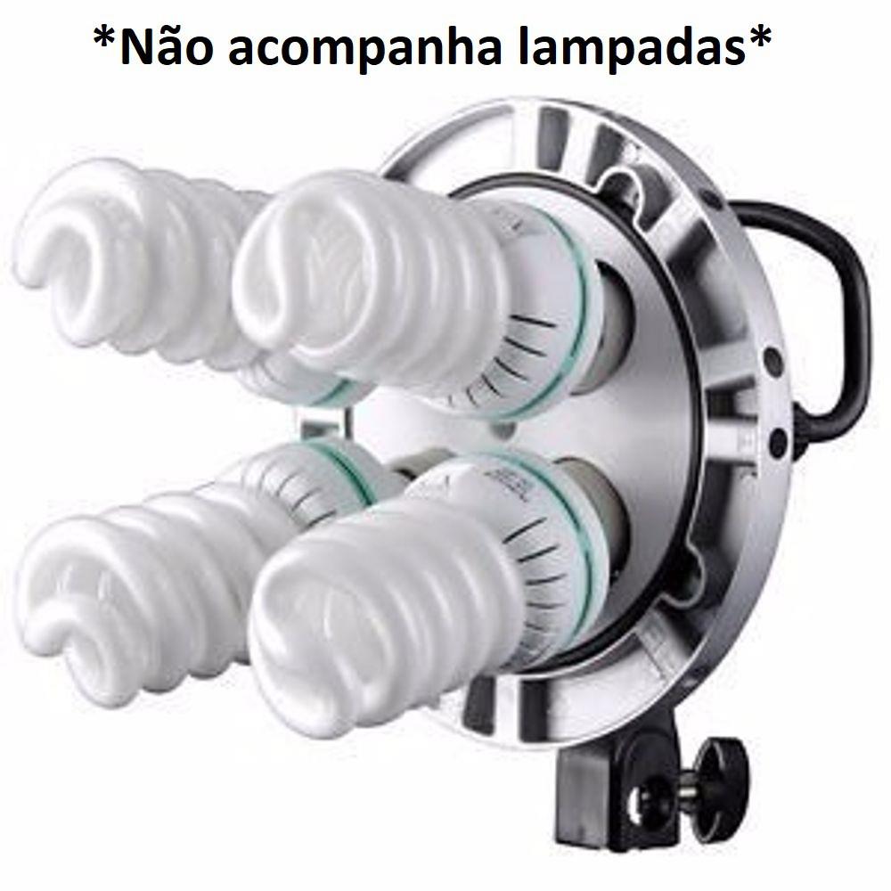 Soquete Quadruplo Para 4 Lampadas Luz Continua Godox - TL-4 220V