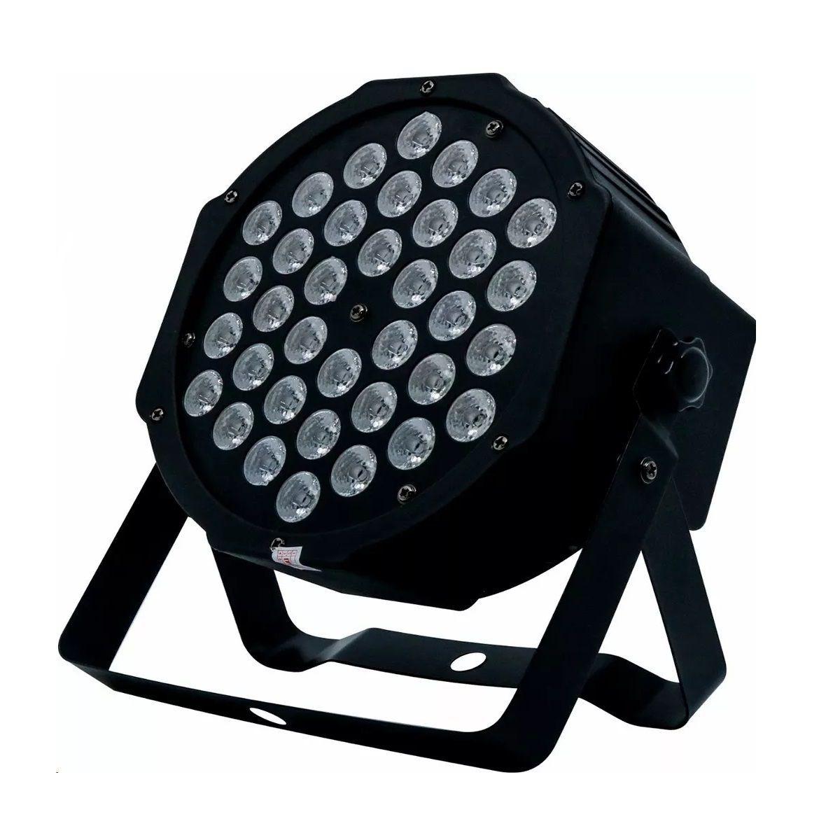 Strobo 108 Leds Branco 25W Rítmico Bivolt Automático + 1 Canhão de Luz Led Par 64 RGB 36 Leds DMX Digital Strobo - HL-36P