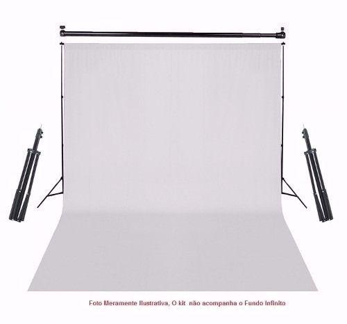 Kit Fotográfico Suporte Para Fundo Infinito + Kit Iluminação - BJ-14 + 2 Tripé 2M St803 + 2 Sombrinhas Difusoras E 2 Soquetes Simples Bivolt