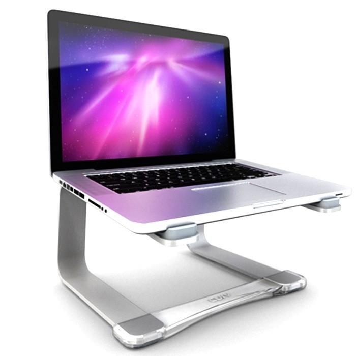 "Suporte Elevado Curv Cristal Aluminio Para Notebook Macbook 9 a 17"" - Prata"