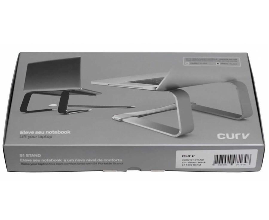 "Suporte Elevado Curv Cristal Aluminio Para Notebook Macbook 9 a 17"" - Rosa"
