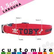 Coleira Personalizada Cães - 1,5cm - PP / P - Icones - Customize!