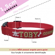 Coleira Identificação Personalizada Cachorro - Largura 1,5cm - PP / P - Icones