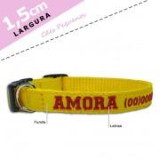 Coleira Identificação Personalizada Cachorro - Largura 1,5cm - XXP / PP / P