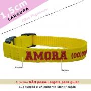 Coleira Identificação Personalizada Cachorro - Largura 1,5cm - XXP