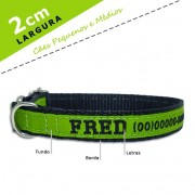 Coleira Identificação Personalizada Cachorro - Largura 2cm - PP / P / M