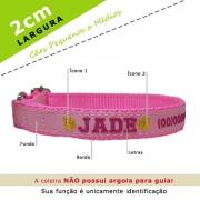 Coleira Identificação Personalizada Cachorro - Largura 2cm - PP / P / M1, M2