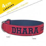 Coleira Identificação Personalizada Cachorro - Largura 4cm - G / GG  -  Grande Porte