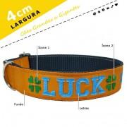 Coleira Identificação Personalizada Cachorro - Largura 4cm - G / GG - Icones - Grande Porte