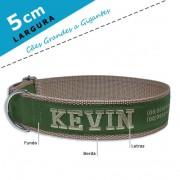 Coleira Identificação Personalizada Cachorro - Largura 5cm - G / GG - Grande Porte